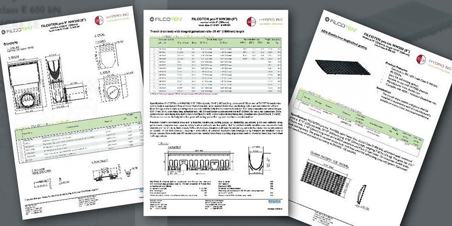 Spec Sheets, FILCOTEN pdf and dwg