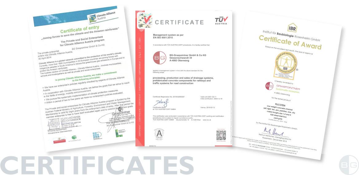 BG-Graspointner Certificates